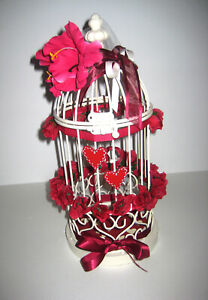 URNE TIRELIRE CAGE MARIAGE METAL BLANC PIECE UNIQUE DECOREE 33cmx14cm NEUVE