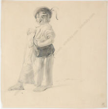 "Leopold Munsch ""Slovakian Shepherd"", Drawing, 2nd Half of 19th Century"