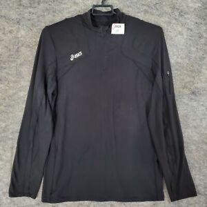 Asics Shirt Mens Adult Large Black 1/4 Zip Long Sleeve Stretch Running Active
