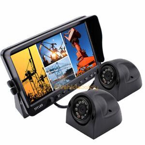 "2x Waterproof Side View Camera Reversing Camera + 7"" Quad TFT-LCD Monitor System"