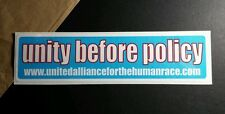 UNITY BEFORE POLICY UNITED ALLIANCE FOR THE HUMAN RACE BLUE 2x8 MUSIC STICKER