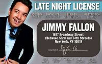 Jimmy Fallon star of The Tonight Show / Saturday Night Live  Drivers License