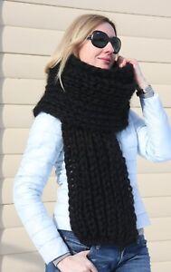 5 strands Premium Mohair SCARF hand knit Black  Men Women Jane Rodas