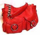 OROTON pebble grain red Leather Shoulder Bag Handbag Chain Tote NWOT rrp$595