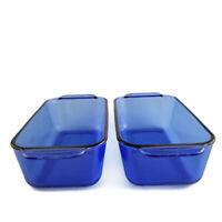 Set of 2 Pyrex 1.5 Quart Blue Rectangular Casserole 213-R Baking Loaf Pan Dish