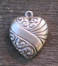 VINTAGE STERLING PUFFY HEART CHARM - Repousse Diagonal Banner & Swirls Both Side