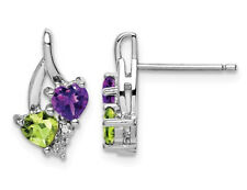 Sterling Silver Amethyst and Green Peridot Earrings