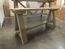 SHABBY CHIC PAINTED A-FRAME 4' LOW BENCH BESPOKE SIZES & COLOURS F&B LIGHT GRAY