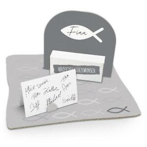 itenga Geldgeschenk Verpackung Fisch Grau Kommunion Konfirmation Mädchen Jungen