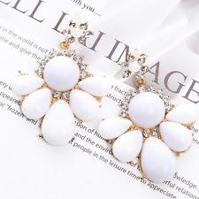 Women Fashion White Resin Heronsbill Ear Stud Eardrop Earring Wedding Jewelry