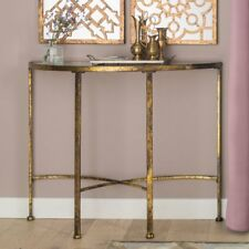 Mirrored Console Table Hallway Furniture Vintage Distressed Gold Metal Frame New
