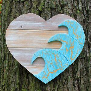 "Natural Wood Blue Wave Heart 15"", Handemade Wood Wall Art"
