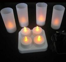 Set of 4 - Rechargeable Flickering LED Flameless Tea Light Candles With Charger
