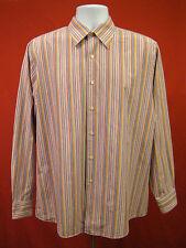 BCBG ATTITUDE Mens Size L 16.5 34/35 Multi Color Stripe Dress Shirt Long Sleeve