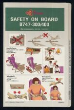 THAI Airways B747 - 300 / 400 Airline SAFETY CARD Airlines brochure sc870 ax