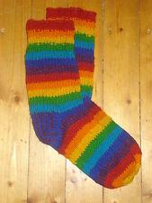 Lana Caliente De Invierno Calcetines de lana a rayas arco iris brillante Fairtrade Bafts 6 7 8 9 1011