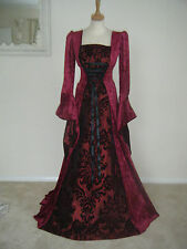 MEDIEVAL RENAISSANCE DRESS COSTUME GOWN BURGUNDY WEDDING  COSTUME WITH BAG SM-XX