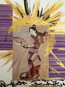 Vintage Style Geisha Dancer Abstract Painting Oriental Asian Art Mixed Media