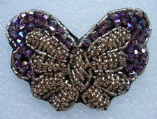 Sb184 3D Butterfly Rhineshones Beaded Jewelry Applique Handmade Craft