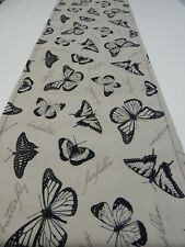 Decorative Table Runner - Black Butterflies on Neutral 150cm x 35cm