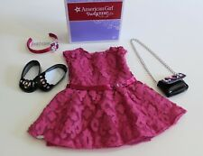 American Girl Doll Dress Shoes Purse Outfit Merry Magenta Pink Authentic