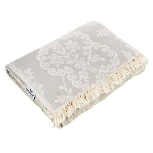 Plaid Tagesdecke PAISLEY grau Couchdecke Sofa Decke 150 x 200 cm 100% Cotton