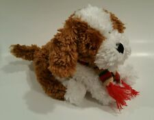 "Demdaco Nat & Jules 9"" Plush Stuffed Dieter Dog Knit Scarf Christmas Winter"