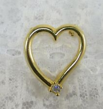 Vintage 1970's Estate Gold Heart with Australian Crystal Brooch / Pin / Pendant