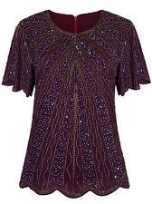 Womens 1920s Vintage Beads Evening Top Art Deco Scalloped Hem Sequin Embellished