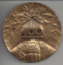 """Coke Coca Cola 1986 Centennial Bronze  3"""" Medal Token Medallic Arts Company"""