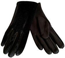 Black Gloves Womens Velvet Style Velour Cotton Blend Ladies Soft Cosy Winter