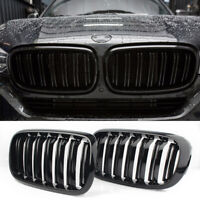 Front Kidney Grill Grille For BMW F15/F16 X5 X6 2014-2017 Gloss Black Dual Slats
