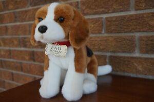 PLUSH FAO Schwarz BEAGLE Dog Puppy White Brown Black Red Collar Stuffed Animal