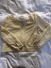 ARTIGIANO ladies Lace Front Zip Blouse/ Jacket-size 16 Light Yellow Colour