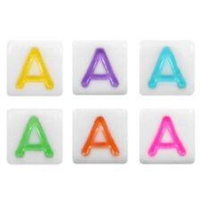 Acryl Buchstabenperlen weiß/bunt - 10 Stück - 6 x 6 mm - Buchstabe wählbar