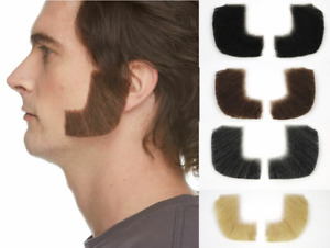 HUMAN HAIR COSTUME CURVED SIDEBURNS MUTTON CHOPS BIKER HIPPIE GREASE DICKENS