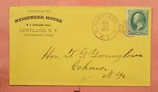 1879 MESSENGER HOUSE HOTEL ADVERTISING CORTLAND NY CANCEL * NICE STRIKE
