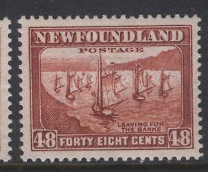 NEWFOUNDLAND 199 NSSC 193 1932 48c RED BROWN FISHING FLEET MNH CV$22.50++