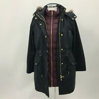 JOULES 3-in-1 Navy Purple Feather Down Parka Rain Coat Womens Size UK 8 3769