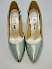 Dyeables Satin Pumps Womens Size 7.5 B Classic Silver Vintage Wedding Shoe W/Box