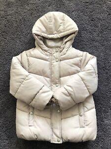 Primark Girls Beige Neutral Padded Coat Puffer Fleece Lined Age 4-5 Years