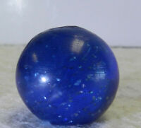 #12739m Bigger .83 Inches German Handmade Blue Glass Mica Marble Near Mint