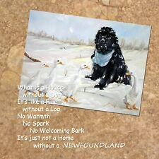 More details for newfoundland dog ducks striking new hardboard plaque tile sandra coen art print