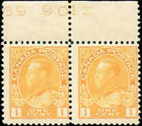 Canada Mint NH 1922 F Pair Scott #105 1c Admiral KGV Stamps