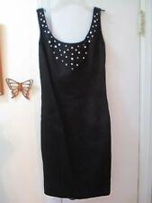 Morton Myles - Black w/Embellishment Scoop Neck Sleeveless Pencil Dress - Size S