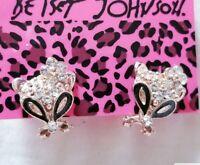 New Betsey Johnson Black Enamel Cute Fox Flower Crystal Stand Earrings Gifts