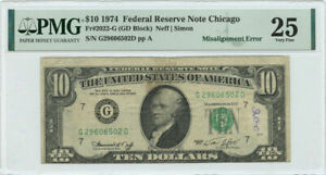 1974 $10 FRN Chicago, IL PMG VF 25 Misalignment Error