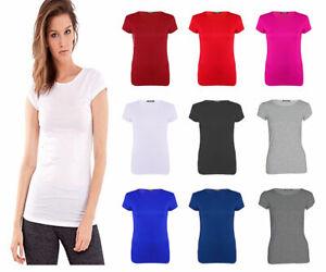 New Women Ladies Fit Plain Short Sleeve Crew Neck Tee T-shirt Tshirt Plus Size