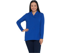 Denim & Co. Essentials Perfect Jersey Shawl Collar Long-Sleeve Top Lapis Blue XL