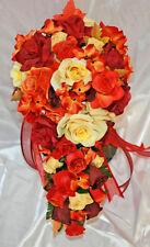 Fall Wedding Bridal Bouquet Bouquet  Burgundy Yellow Red Orange Silk Flower 2pc